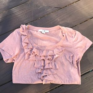 Forever 21. Pink Ruffled Short Sleeve t shirt.